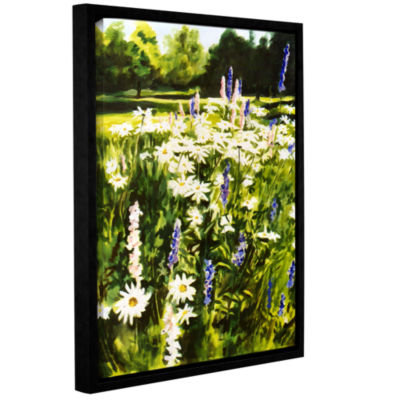 Brushstone Daisies And Larkspurs Gallery Wrapped Floater-Framed Canvas Wall Art