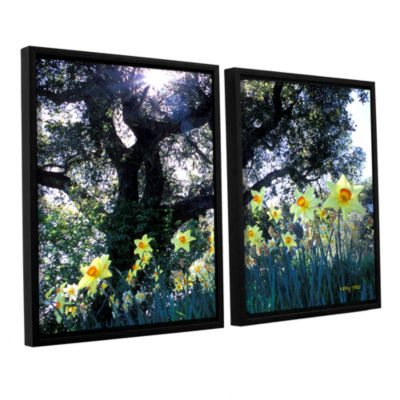 Brushstone Daffodils And The Oak 2-pc. Floater Framed Canvas Wall Art