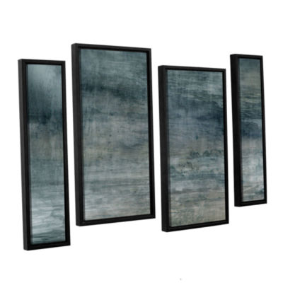 Brushstone Cyan Sea 4-pc. Floater Framed Staggered Canvas Wall Art
