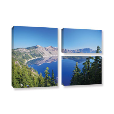 Brushstone Brushstone Crater Lake 3-pc. Flag Gallery Wrapped Canvas Wall Art