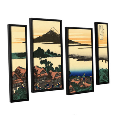 Brushstone Dawn At Isawa In The Kai Province 4-pc.Floater Framed Staggered Canvas Wall Art
