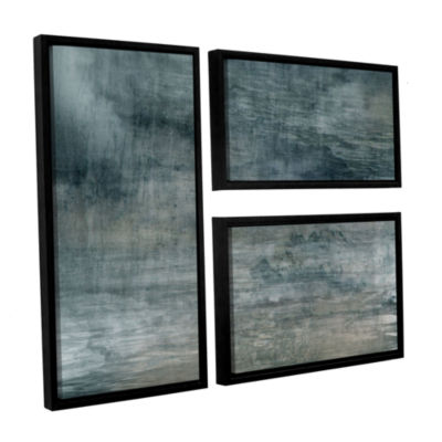 Brushstone Cyan Sea 3-pc. Flag Floater Framed Canvas Wall Art