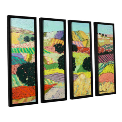 Brushstone Crystal Mountain 4-pc. Floater Framed Canvas Wall Art