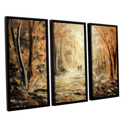 Brushstone Couple's Stroll 3-pc. Floater Framed Canvas Wall Art