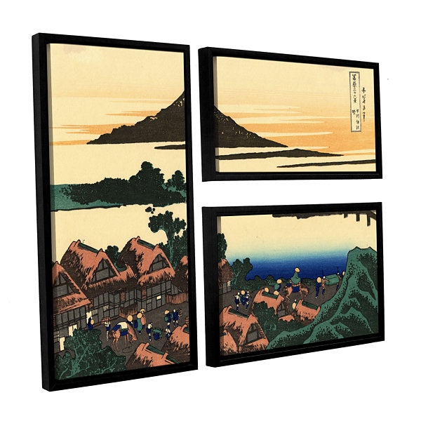 Brushstone Dawn At Isawa In The Kai Province 3-pc.Flag Floater Framed Canvas Wall Art