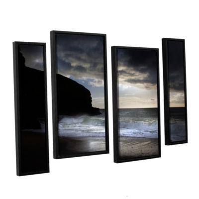 Brushstone Dark Light 2 4-pc. Floater Framed Staggered Canvas Wall Art