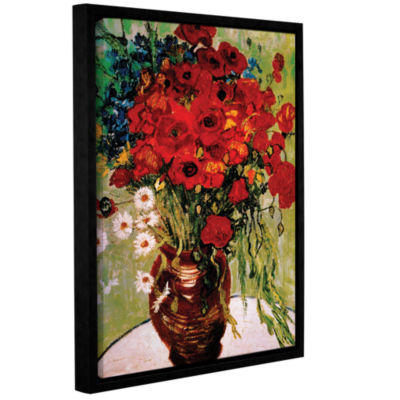 Brushstone Daises And Poppies Gallery Wrapped Floater-Framed Canvas Wall Art