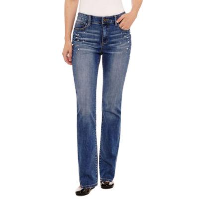 St. John's Bay Secretly Slender Embellished Pearl Straight Jean