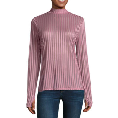 Project Runway Long Sleeve Mock Neck Mesh Top