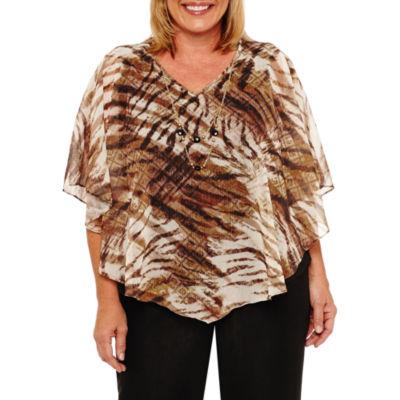 Alfred Dunner Jungle Habitat Womens V Neck Short Sleeve Layered Top-Plus