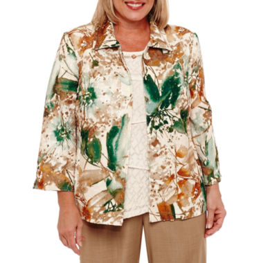 Alfred Dunner Emerald Isle Floral Blazer-Plus