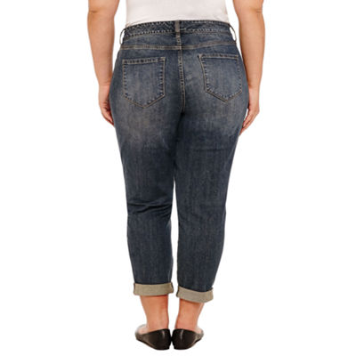 Liz Claiborne Embroidered Slim Boyfriend Jean- Plus