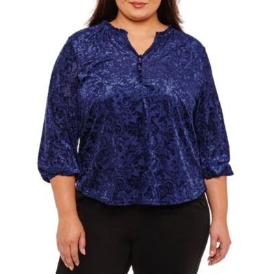 Liz Claiborne Burnout Peasant Blouse- Plus