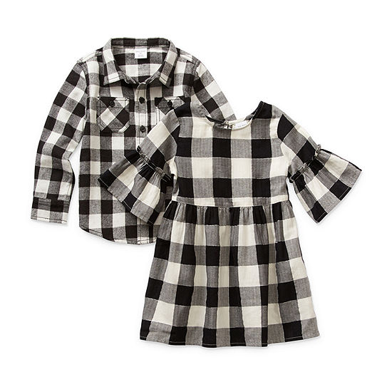 Okie Dokie Black and White Plaid Sibling Outfit