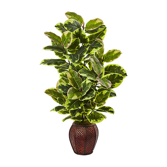 Nearly Natural Rubber Plant With Planter