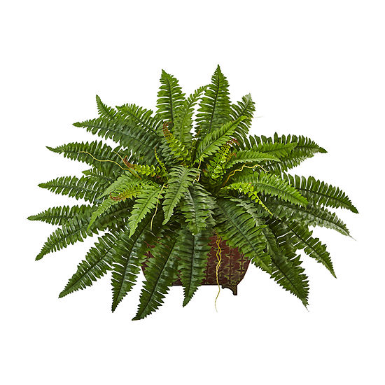 Nearly Natural Boston Fern In Metallic Planter
