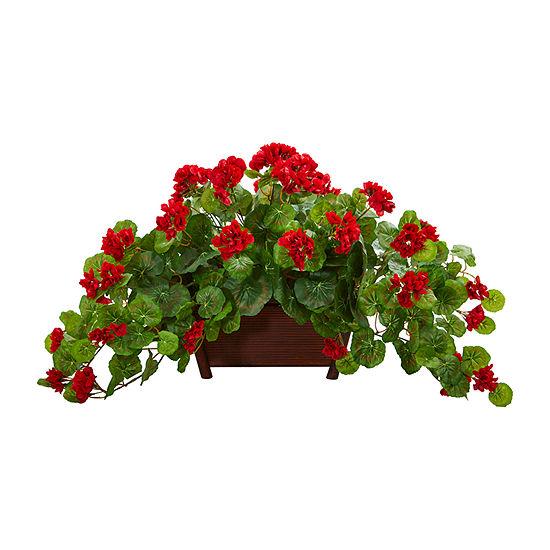 Nearly Natural Geranium Artificial Plant In Decorative Planter