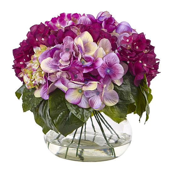 Nearly Natural Multi-Tone Beauty Hydrangea With Round Glass Vase Artificial Flowers
