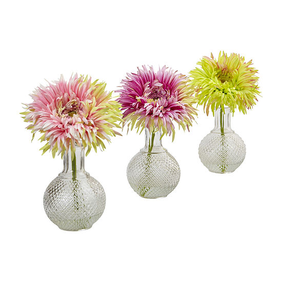 Nearly Natural Daisy With Glass Vase (Set Of 3) Artificial Flowers