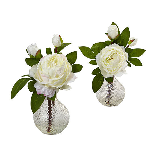 """Nearly Natural 11"""" Peony With Vase (Set Of 2) Artificial Flowers"""