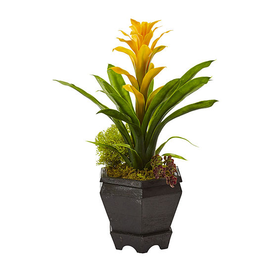 Nearly Natural Yellow Bromeliad In Black Hexagon Planter