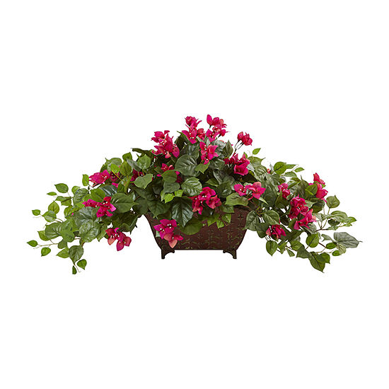 Nearly Natural Green Bougainvillea In Metal Planter
