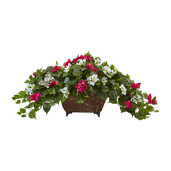 Nearly Natural Green And White Bougainvillea In Metal Planter