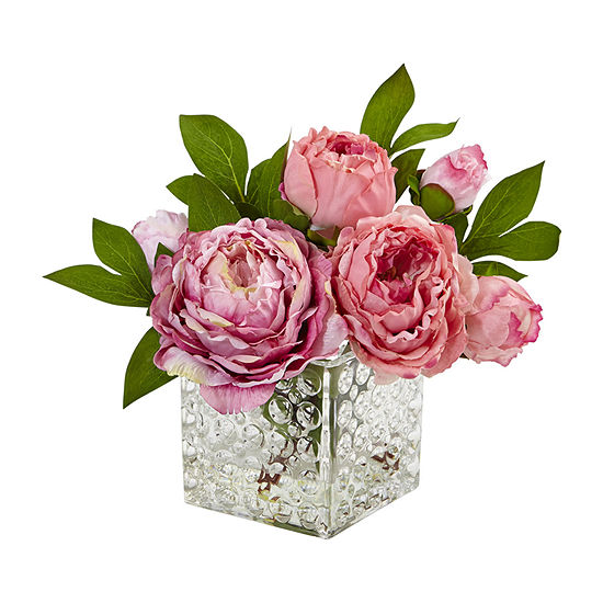 Nearly Natural Peony In Glass Vase Artificial Flowers