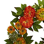 Nearly Natural 24 Peony And Mum Wreath Artificial Flowers