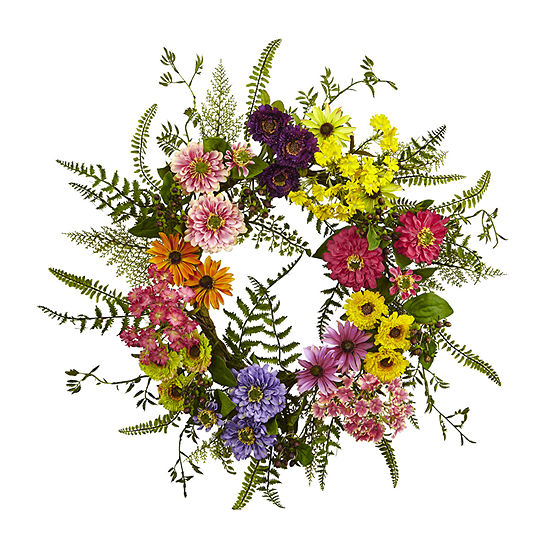 Nearly Natural Mixed Flower Wreath Artificial Flowers