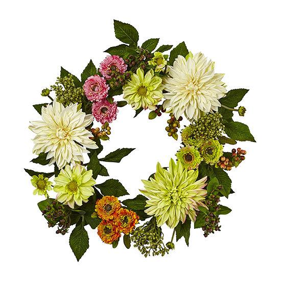 Nearly Natural 22 Dahlia Mum Wreath Artificial Flowers