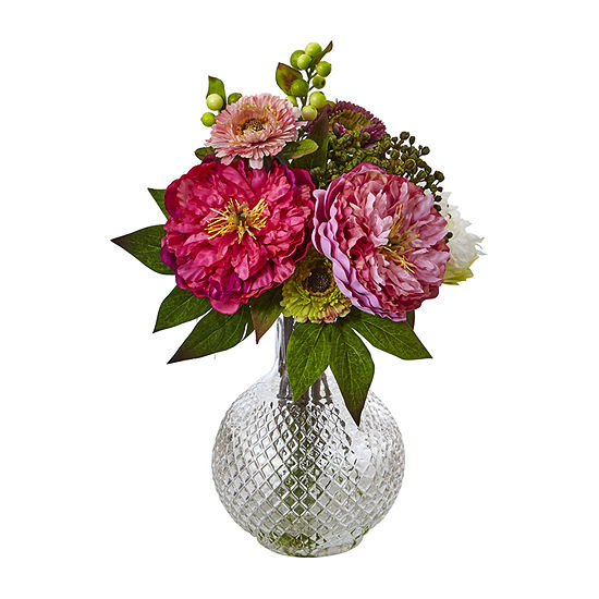 Chooka Fashion Peony And Mum In Glass Vase Artificial Flowers
