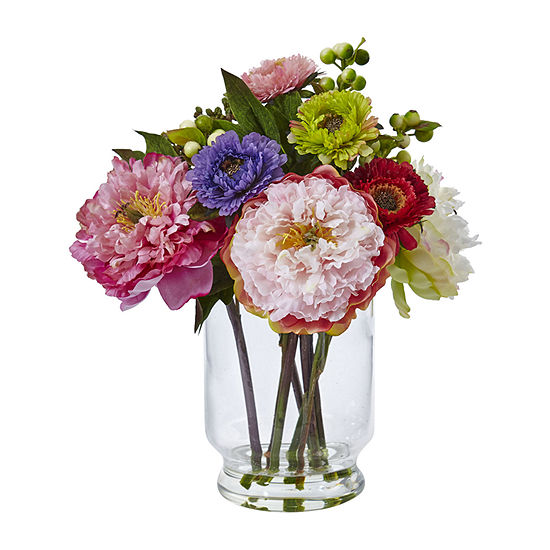 Northbeam Peony And Mum In Glass Vase Artificial Flowers