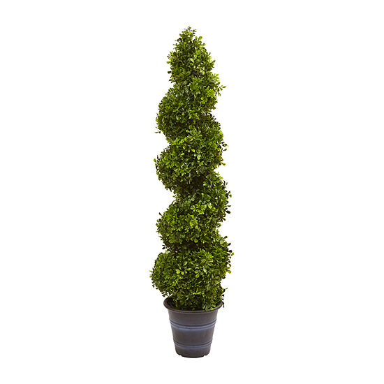 Nearly Natural Boxwood Spiral Topiary With Planter