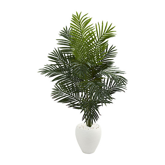 Nearly Natural 5.5 Paradise Artificial Palm Tree In White Planter