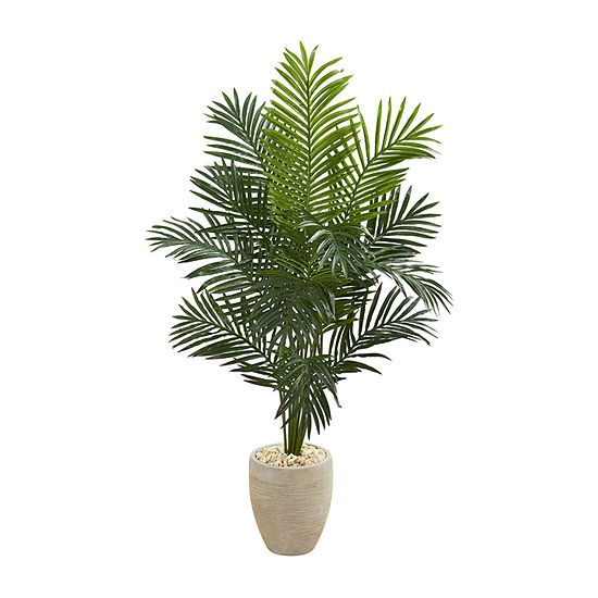 Nearly Natural 5.5 Paradise Artificial Palm Tree In Sand Colored Planter