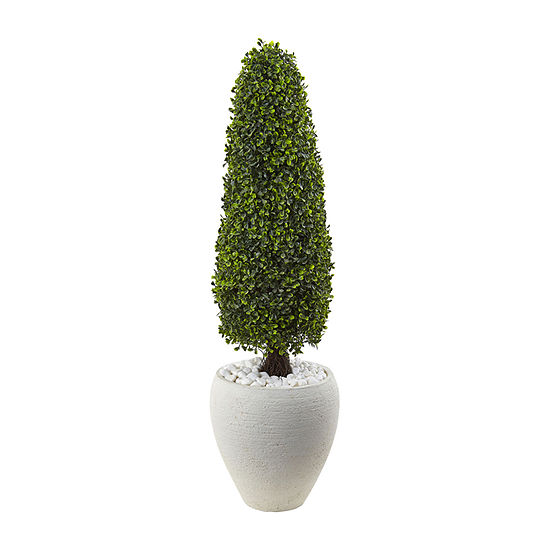 """Nearly Natural 41"""" Boxwood Topiary With Textured White Planter"""