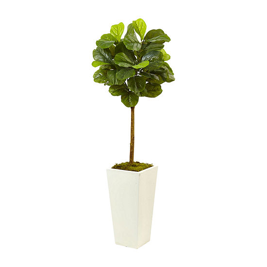Nearly Natural 4.5 Fiddle Leaf Fig In White Planter