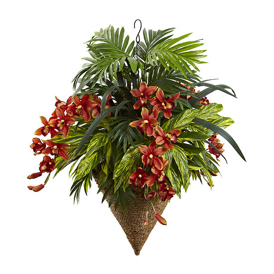 Nearly Natural Mixed Tropical & Cymbidium Hanging Basket