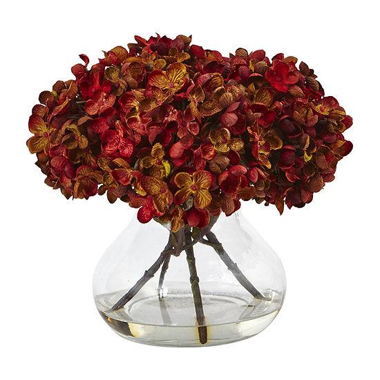 "Nearly Natural 8.5""H Hydrangea Silk Flower Arrangement With Glass Vase Artificial Flowers"