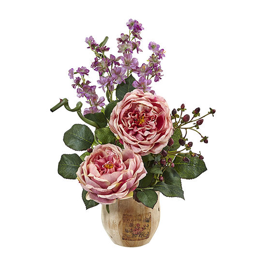 Nearly Natural Pink Large Rose And Dancing Daisy In Wooden Pot Artificial Flowers