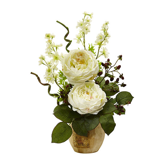 Nearly Natural White Large Rose And Dancing Daisy In Wooden Pot Artificial Flowers