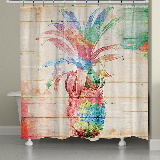 Laural Home Colorful Pineapple Shower Curtain