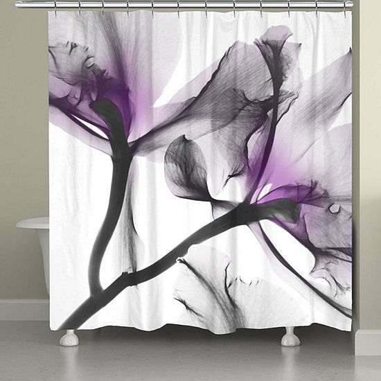 Laural Home Lavender Cyclamen X-Ray Shower Curtain