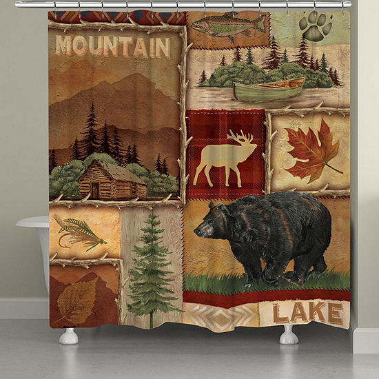 Laural Home Lodge Collage Shower Curtain