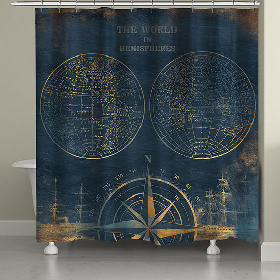 Laural Home Golden Comp Blue Map Shower Curtain