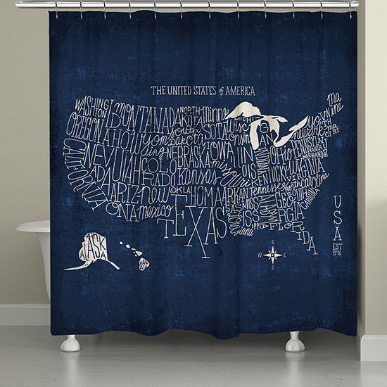 Laural Home Hand Lettered Map Shower Curtain