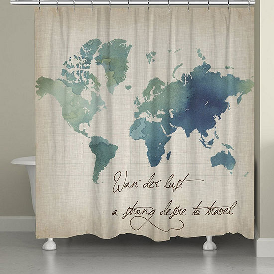 Laural Home Watercolor Wanderlust Shower Curtain