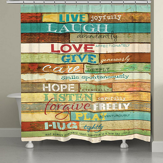 Laural Home Live Laugh Love Mantra Shower Curtain