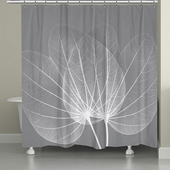 Laural Home Grey Leaves Shower Curtain